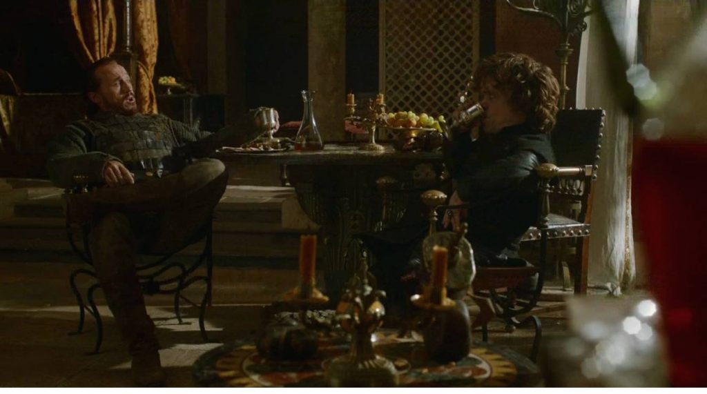 Like hell we're posting any pictures of the Theon stuff. Have Bronn & Tyrion bantering instead.